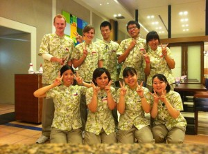 Interns working in an Okinawa Hotal